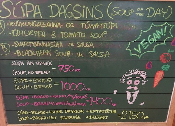 Mal og Menning café's vegan soups