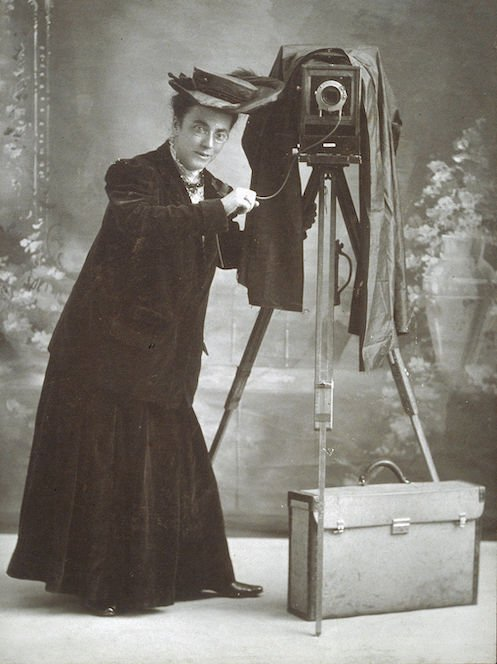 Jessie Tarbox Beals with camera-Schlesinger Library