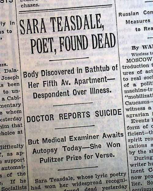 Sara Teasdale suicide
