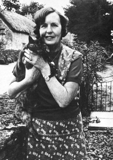 Barbara Pym with her cat