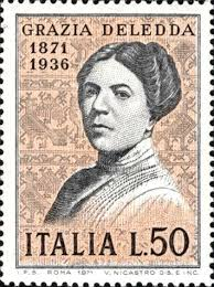 Grazia Deledda postage stamp