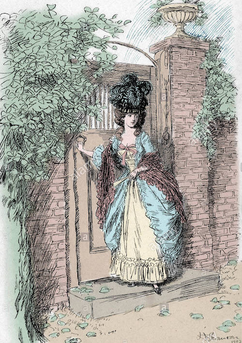 Illustration from Evelina by Fanny Burney; Evelina shutting the garden gate