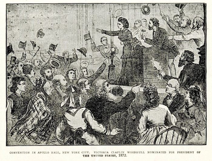 Victoria Woodhull nominated for as presidential candidate for the equal rights party, 1872