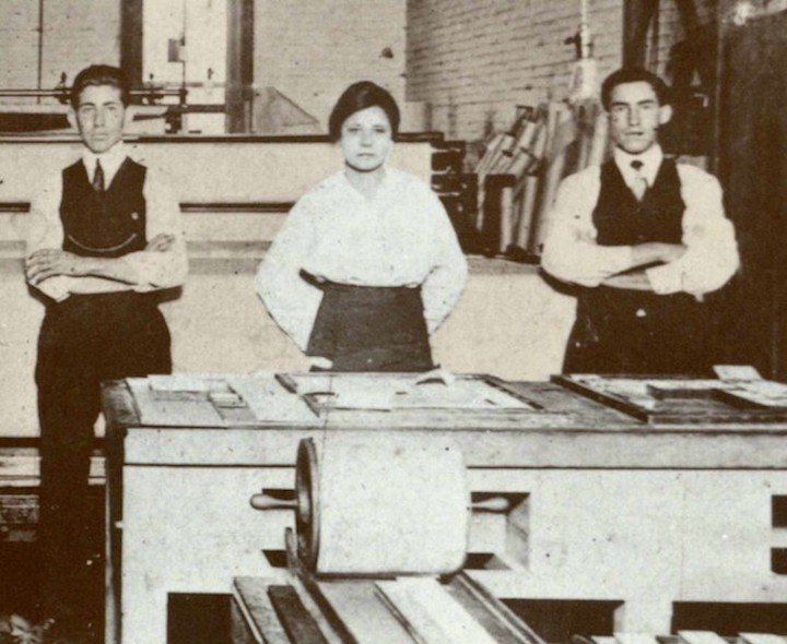 Jovita Idar and colleagues in the El Progresso Print shop, 1914
