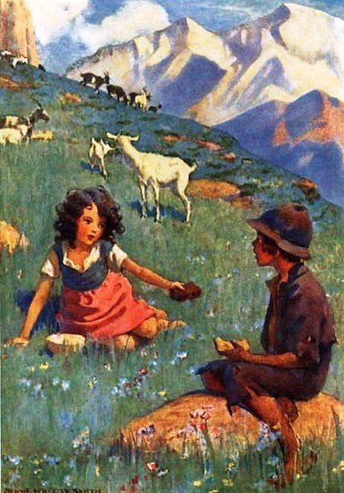 Heidi and Peter - illustration by Jessie Willcox Smith