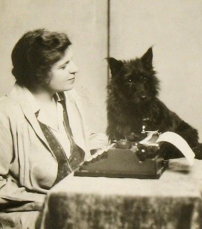 Rachel Field and her dog, Spriggen