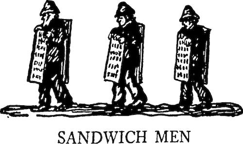 Sandwich men by Rachel field