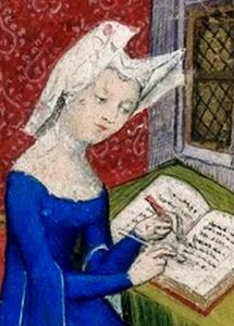 christine de pizan working on a book